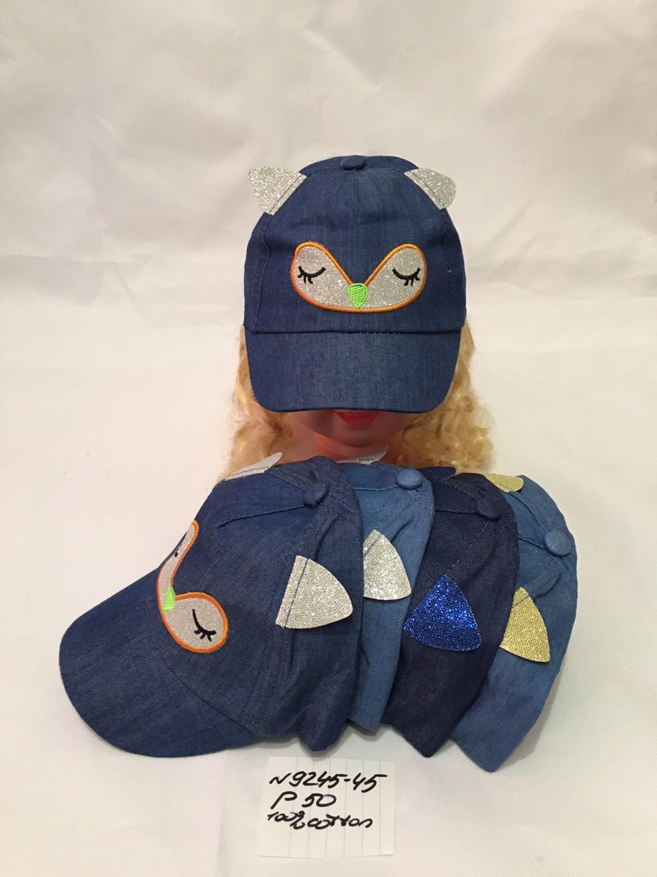Літня дитяча джинсова кепка з вушками для дівчинки р. 50 100% cotton