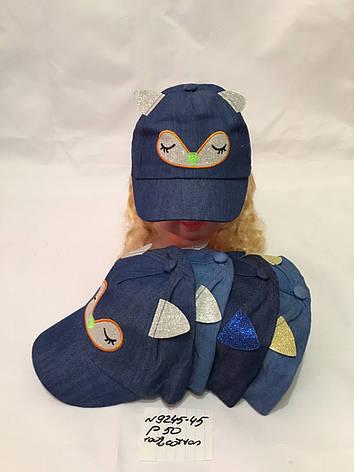 Літня дитяча джинсова кепка з вушками для дівчинки р. 50 100% cotton, фото 2