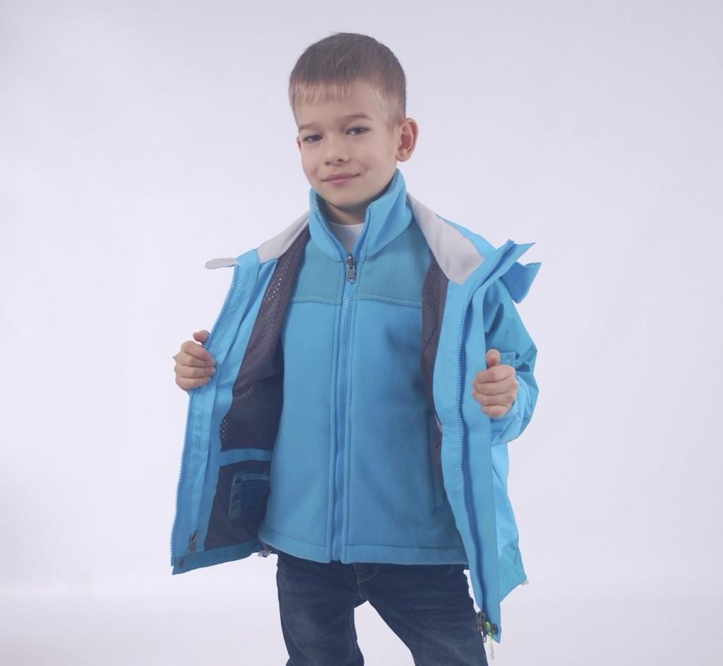 Детская  демисезонная куртка+флисовая кофта для мальчика от ZHONG GUO 2Bj, 110-158 рост