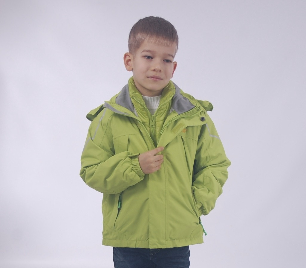 Детская  демисезонная куртка+внутренняя куртка ветровка для мальчика от ZHONG GUO 1Bj, 120-160 рост