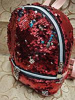 (19.5*18)Женский рюкзак искусств кожа качество с двойная пайетка городской спортивный стильный опт, фото 1