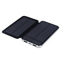 Power bank 10000 mAh Solar, (5V/200mA), 2xUSB, 5V/1A/2,1A, 3W, USB  microUSB, ударо защищеный прорезиненный корпус, Black/White, Corton BOX