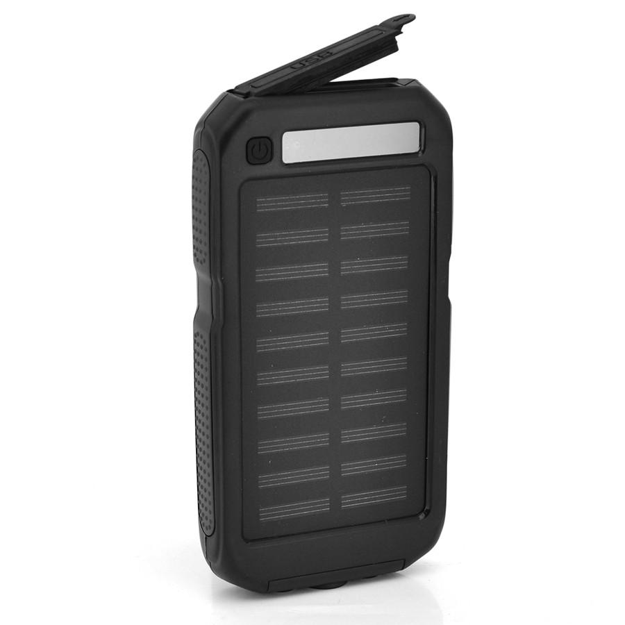 Powerbank 12000 mAh Solar, (5V/200mA), 2xUSB, 5V/1A/1A, USB microUSB, влаго/ударо защищеный прорезиненный корпус, карабин,