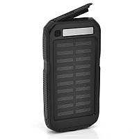 Power bank 12000 mAh Solar, (5V/200mA), 2xUSB, 5V/1A/2.1A, USB  microUSB, ударо защищеный прорезиненный корпус, Black, Corton BOX