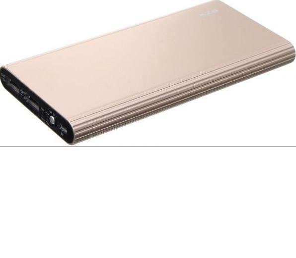 Powerbank 20000mAh PZX-C158, USB-1A + mini USB +кабель USB micro, LED фонарик, Gold, Blister-BOX