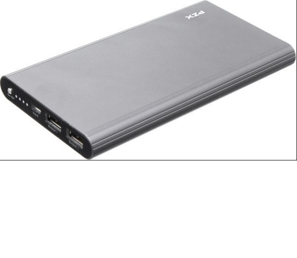 Powerbank 20000mAh PZX-C158, USB-1A + mini USB +кабель USB micro, LED фонарик, Gray, Blister-BOX