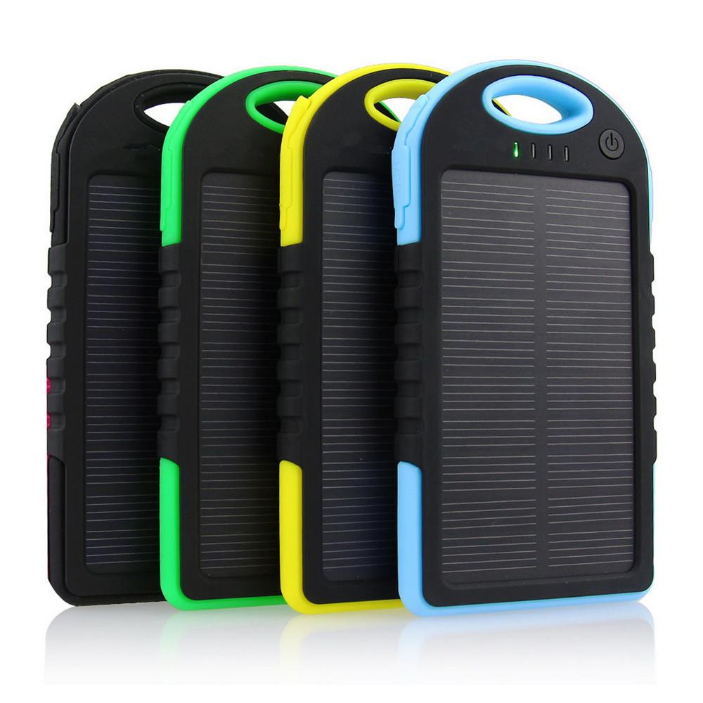 Powerbank 5000 mAh Solar, (5V/200mA), 2xUSB, 5V/1A/1A, USB microUSB, влаго/ударо защищеный прорезиненный корпус, карабин, Black,
