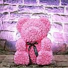 Мишка 40 см с коробкой из 3D фоамирановых роз Teddy de Luxe / искусственных цветов 3д, пенопласт Тедди розовый, фото 3