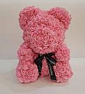 Мишка 40 см с коробкой из 3D фоамирановых роз Teddy de Luxe / искусственных цветов 3д, пенопласт Тедди розовый, фото 5