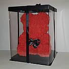 Мишка 40 см с коробкой из 3D фоамирановых роз Teddy de Luxe / искусственных цветов 3д, пенопласт Тедди розовый, фото 9