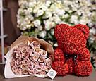 Мишка 25 см с коробкой из 3D фоамирановых роз Teddy de Luxe / искусственных цветов 3д, пенопласт Тедди красный, фото 2