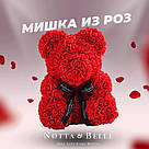 Мишка 25 см с коробкой из 3D фоамирановых роз Teddy de Luxe / искусственных цветов 3д, пенопласт Тедди красный, фото 3