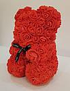 Мишка 25 см с коробкой из 3D фоамирановых роз Teddy de Luxe / искусственных цветов 3д, пенопласт Тедди красный, фото 6