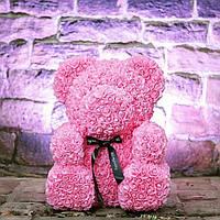 Мишка 40 см с коробкой из 3D фоамирановых роз Teddy de Luxe / искусственных цветов 3д, пенопласт Тедди розовый