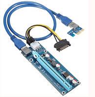 Riser PCI-EX, x1=>x16, 6-pin, SATA=>6Pin, USB 3.0 AM-AM 0,6 м (синий) , конденсаторы СX270, Пакет