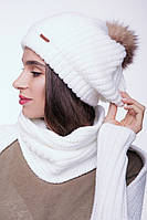 "Объёмная вязаная шапка с помпоном ""Жасмин"" - BW539 белый"
