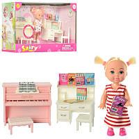 Игровой набор маленькая кукла пупс с набором мебели детская, дочка барби, пианино, стол, Дефа Defa 8414
