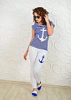 Летний  костюм морячка якорь белые брюки,футболка электрик., фото 1