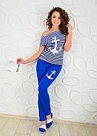 Летний  костюм морячка якорь брюки электрик, фото 1