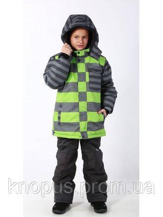 Зимний лыжный термокомбинезон для мальчика серо-зеленая куртка, темно-серые штаны, PIDILIDI