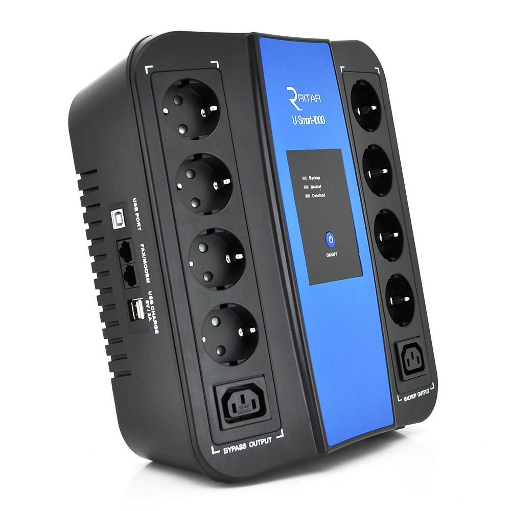 ИБП Ritar U-Smart-1000 (600W), LED, AVR, 3st, 8xSCHUKO socket, 1x12V9Ah, USB x2, RJ45, plastik Case
