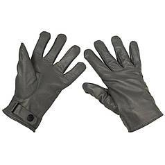 Зимние перчатки BW (кожа+микрофлис), серые 15061M