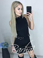Элегантное облегающее замшевое платье с жемчугом чёрное 42-44