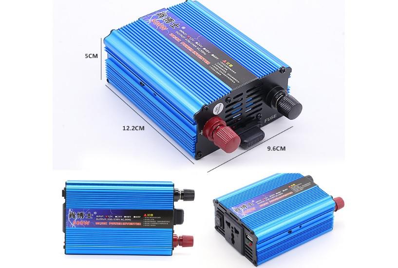 Инвертор напряжения N/N 500Вт, 12/220 с аппроксимированной синусоидой, 1 универсальная розетка, клемы, 1 USB выход