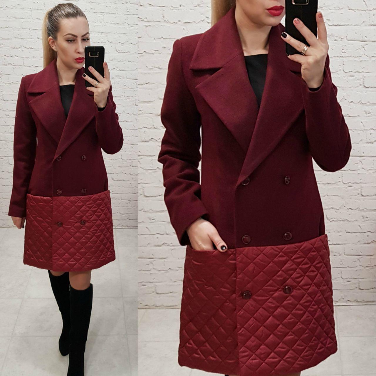 Комбинированное пальто весна - осень, арт 140, цвет марсала