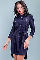 Платье рубашка с поясом 42-48 размера темно-синее, фото 1