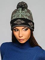 Женская шапка с орнаментом - 92260-smoked