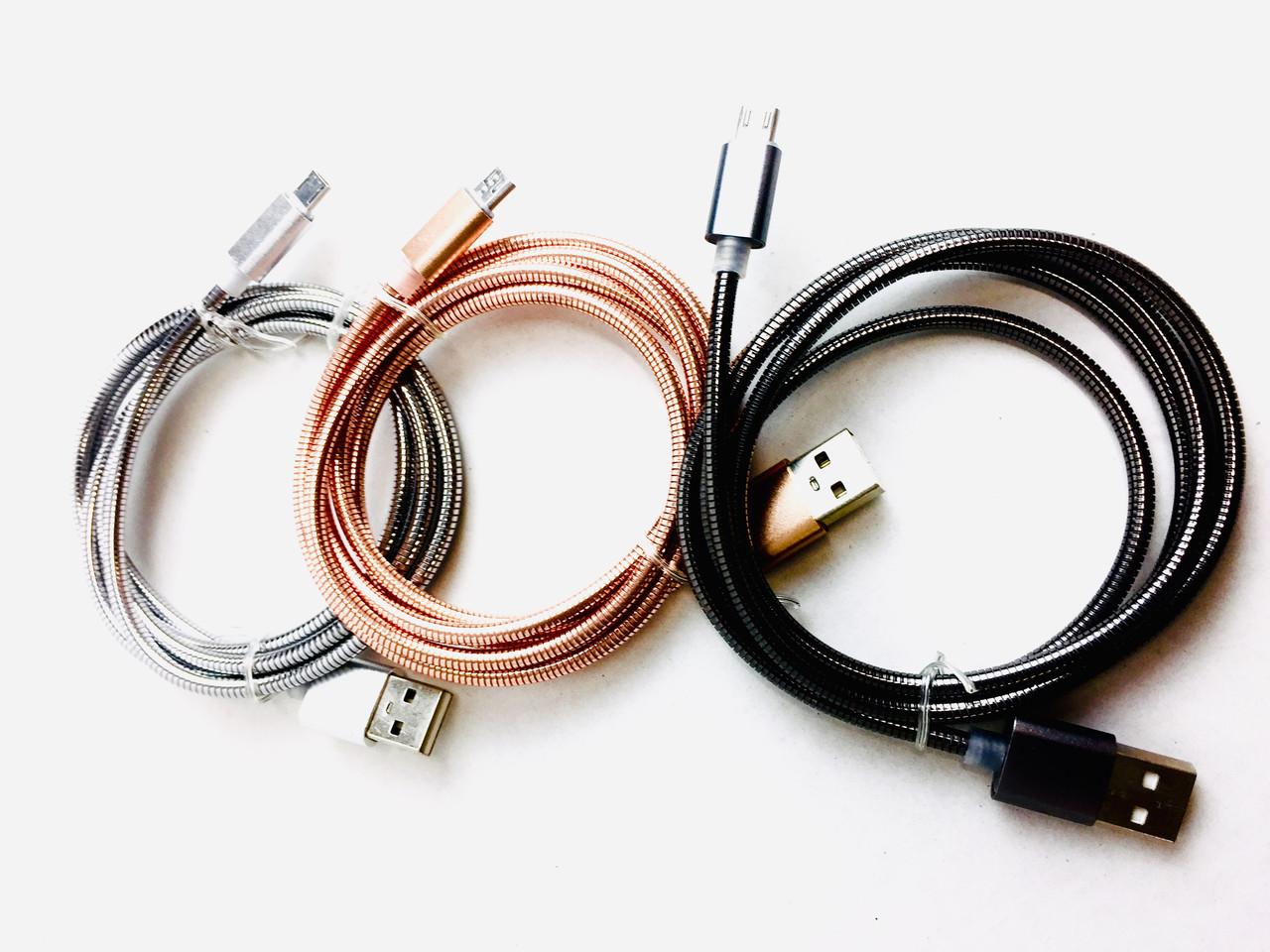 USB кабель в металлической  оплетке B-28/ JS-869 Micro,iphpne (1000 шт/ящ)
