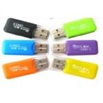 Кардридер универсальный MERLION CRD-1BL TF/Micro SD, USB2.0, Blue, OEM