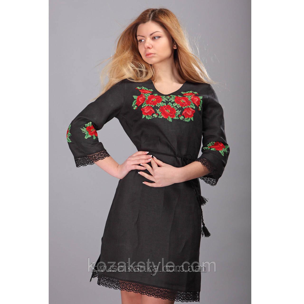 Сукня лляна вишита хрестиком з мереживом  продажа 95b6f1988da36