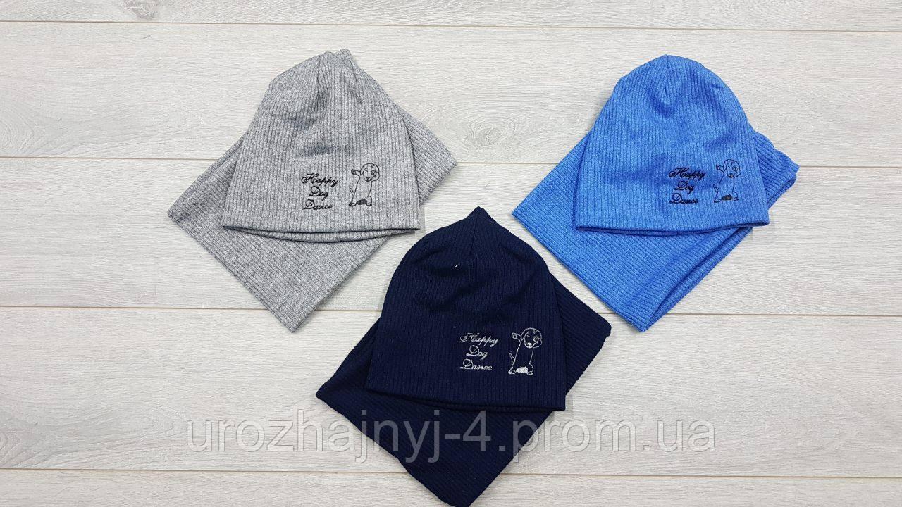 Комплект шапочка и хомут для малышей подкладка х/б р44-46. 5 шт в упаковке.