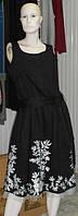 Чорне плаття з бавовни з білою вишивкою і поясом Solar