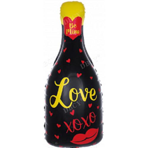 Фольгированный шар бутылка шампанского Love 82х38 см