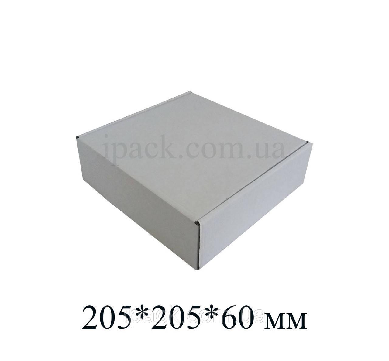 Коробка картонная самосборная, 205*205*60, мм, белая, микрогофрокартон