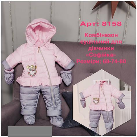 Детский комбинезон демисезонный для девочки Софийка, 68-74-80, фото 2