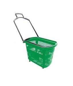 Корзины покупательские б/у на 4 колесах с одной складывающейся ручкой Зеленые 32л