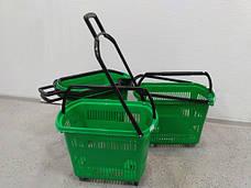 Корзины покупательские б/у на 4 колесах с одной складывающейся ручкой Зеленые 32л, фото 2