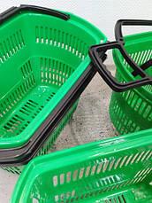 Корзины покупательские б/у на 4 колесах с одной складывающейся ручкой Зеленые 32л, фото 3
