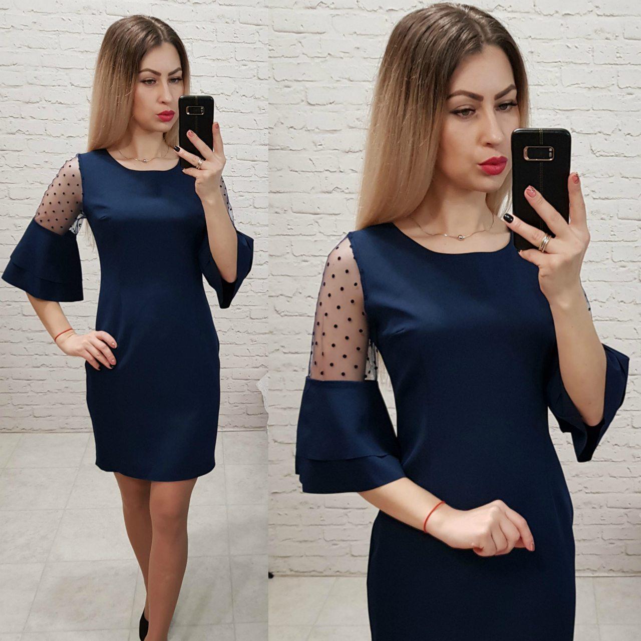 Платье с воланами на рукавах арт 152,кань креп, цвет темно-синий
