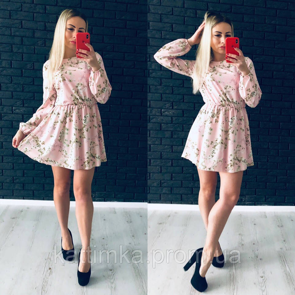 f4eb1256ddc Женское стильное платье с цветочным принтом - Интернет-магазин