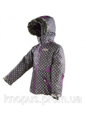 Зимняя термокуртка  для  девочек темно-фиолетовая в горошек, Pidilidi, размеры 134, 140