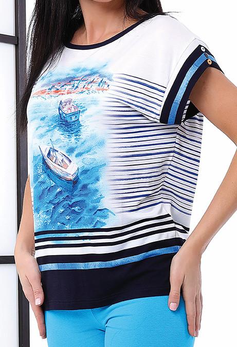 Летняя блуза с принтом. Модель Edyta Top-Bis, коллекция весна-лето