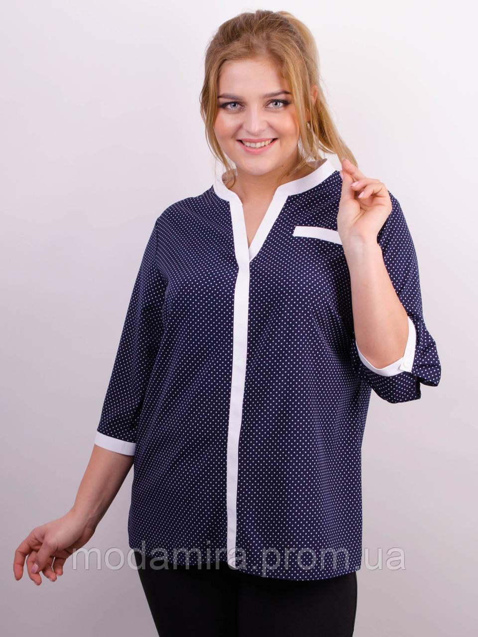 d017fbcff1e Женская летняя блуза- рубашка в горошек больших размеров р- 50-52 ...