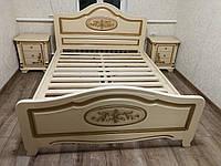 """Ліжко  з натурального дерева """"Біле золото"""""""