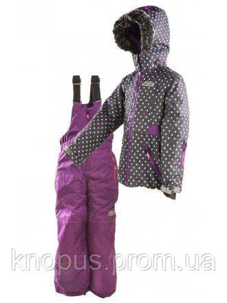 Зимний термокомбинезон темно-фиолетовая куртка и фиолетовые штаны для девочек,PIDILIDI, размеры 134, 140