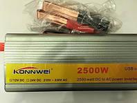 Инвертор напряжения, преобразователь 24/220V - 2500W, фото 1